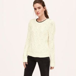 LOFT Faux Leather Neck Trim Cream Cable Sweater